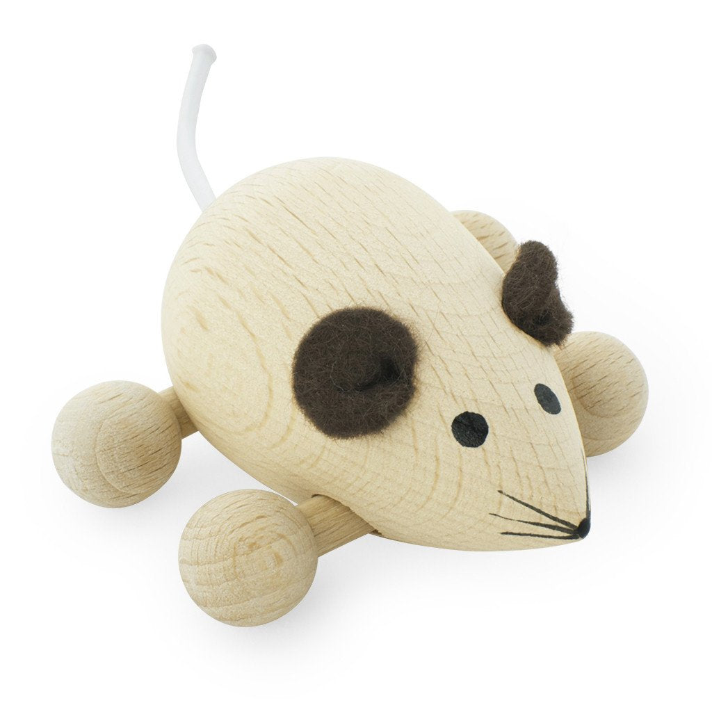 HAPPY GO DUCKY  - Wooden Push Along Mouse - Peanut