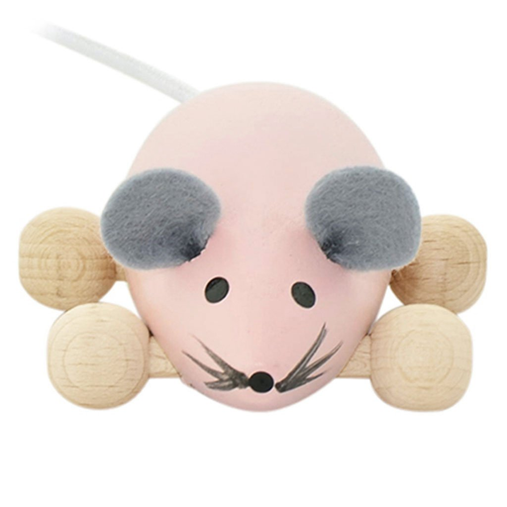 HAPPY GO DUCKY  - Wooden Push Along Mouse - Daphne