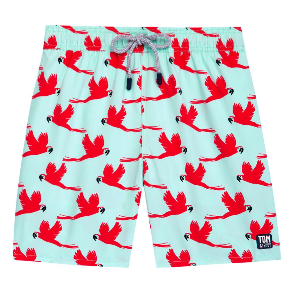 TOM & TEDDY - Mens Light Blue & Pink Parrot