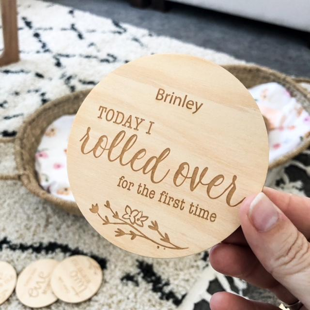 ONE CHEW THREE - Vintage Floral Baby Milestone Plaques (Developmental)