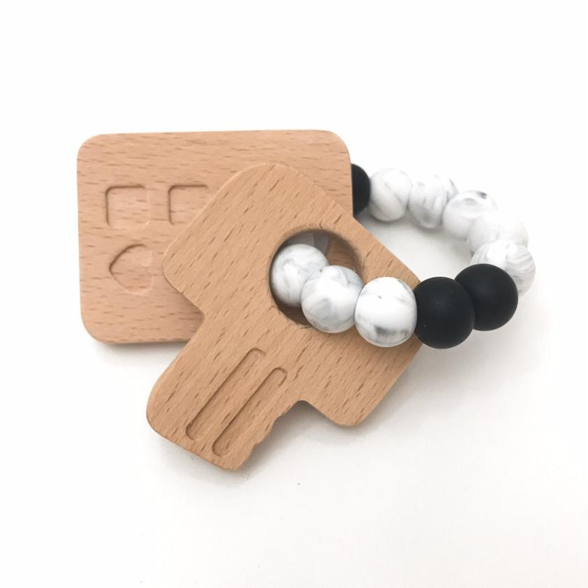 ONE CHEW THREE - KEYS TO MY HEART Silicone and Beech Wood Teether
