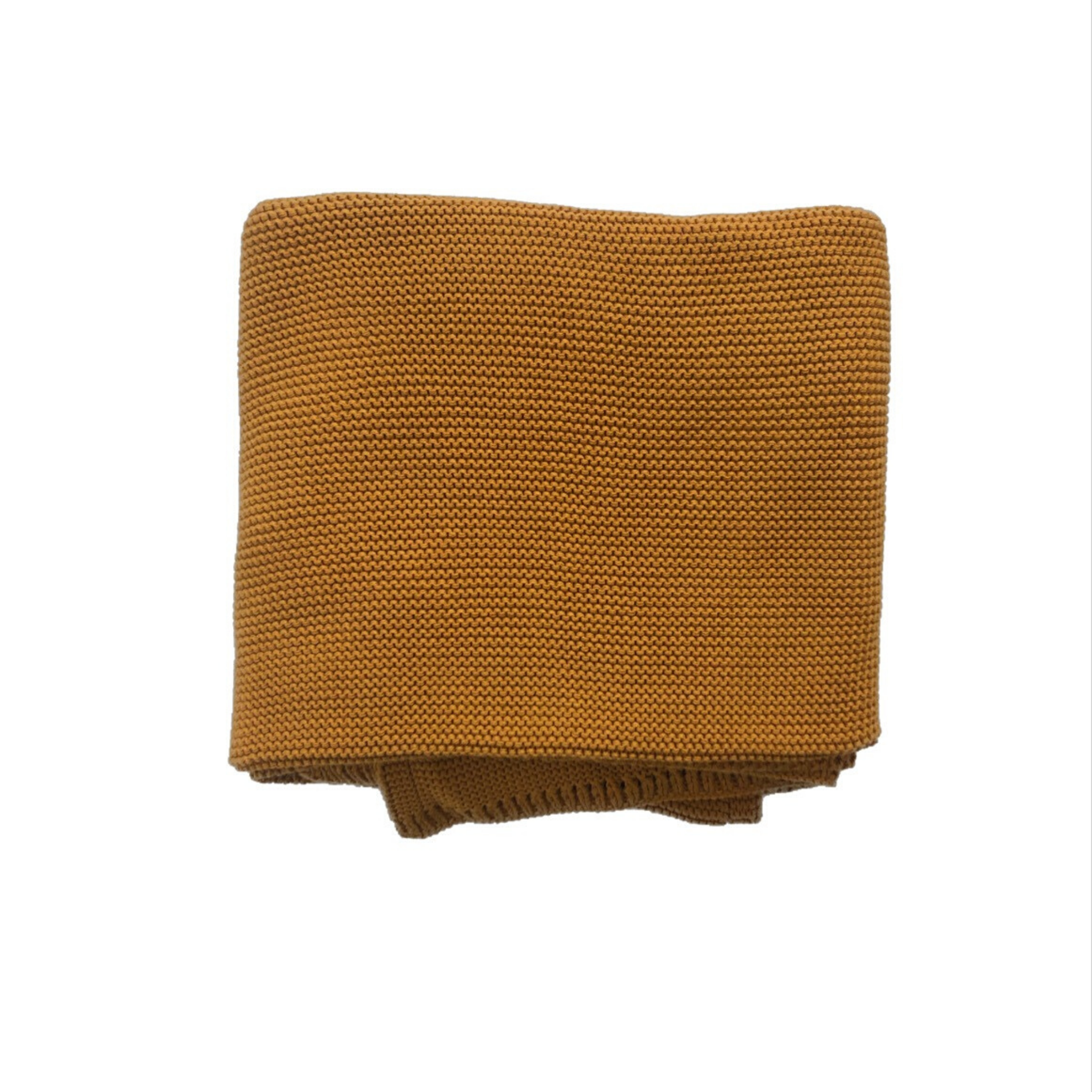 MINI & ME - Cable Knit Baby Blanket | Mustard