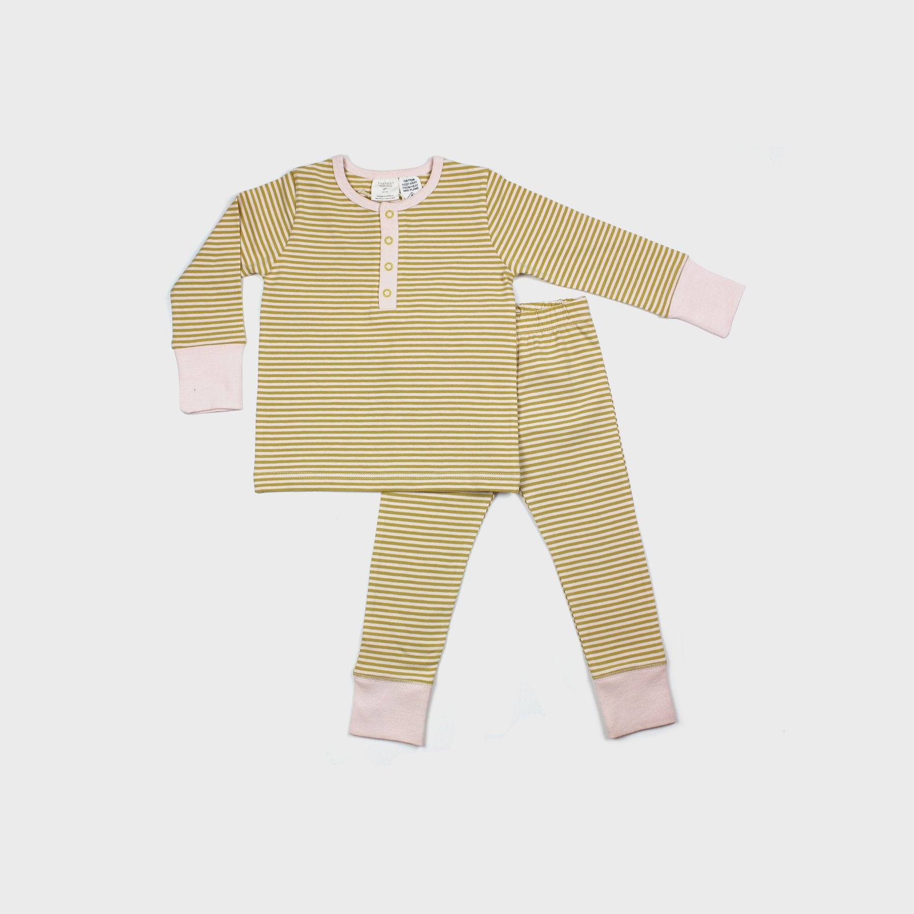 THE REST - Winter PJ Set | Mustard/Blush Stripe