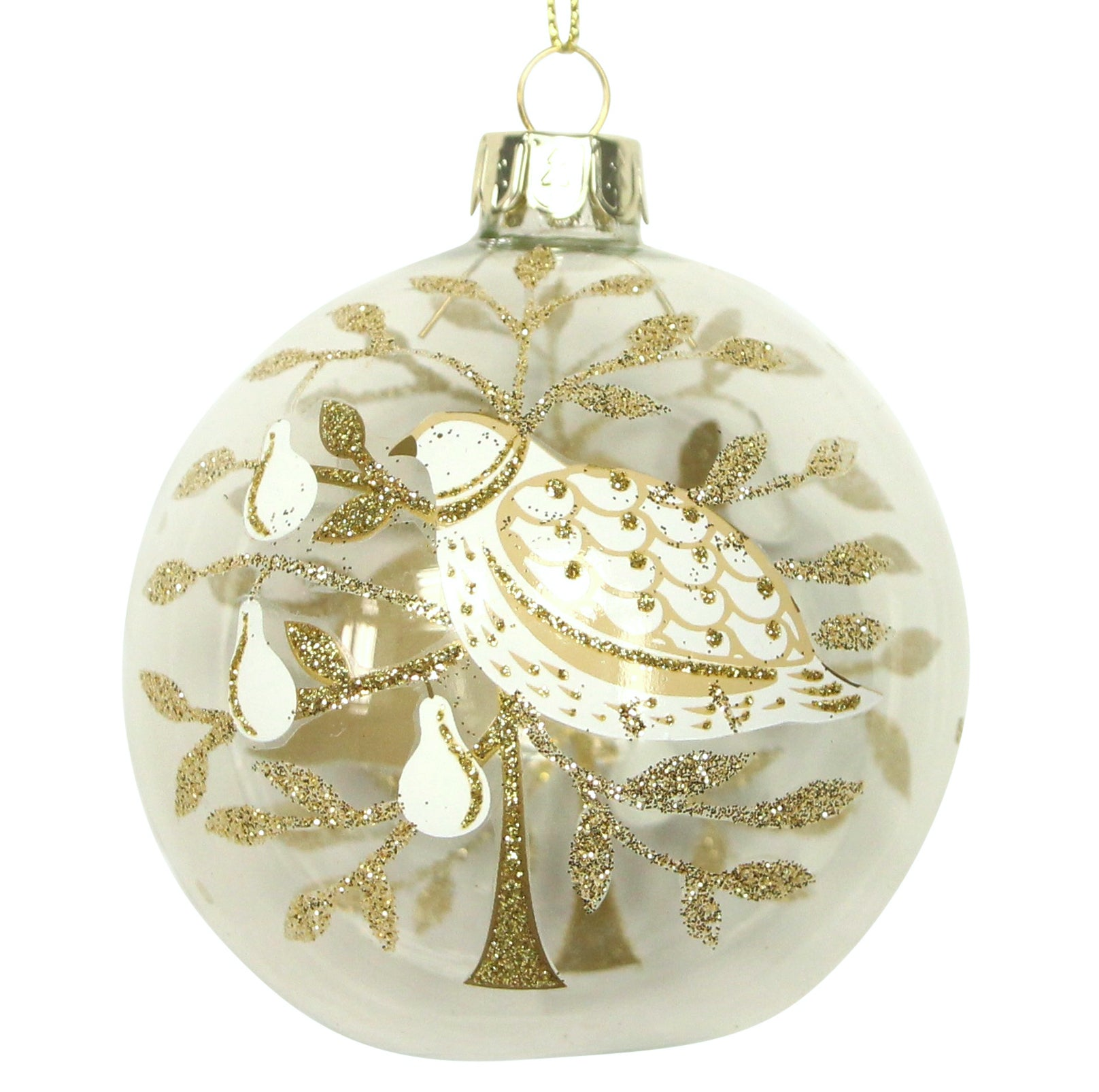 Glass Bauble - Gold Partridge in a Pear Tree
