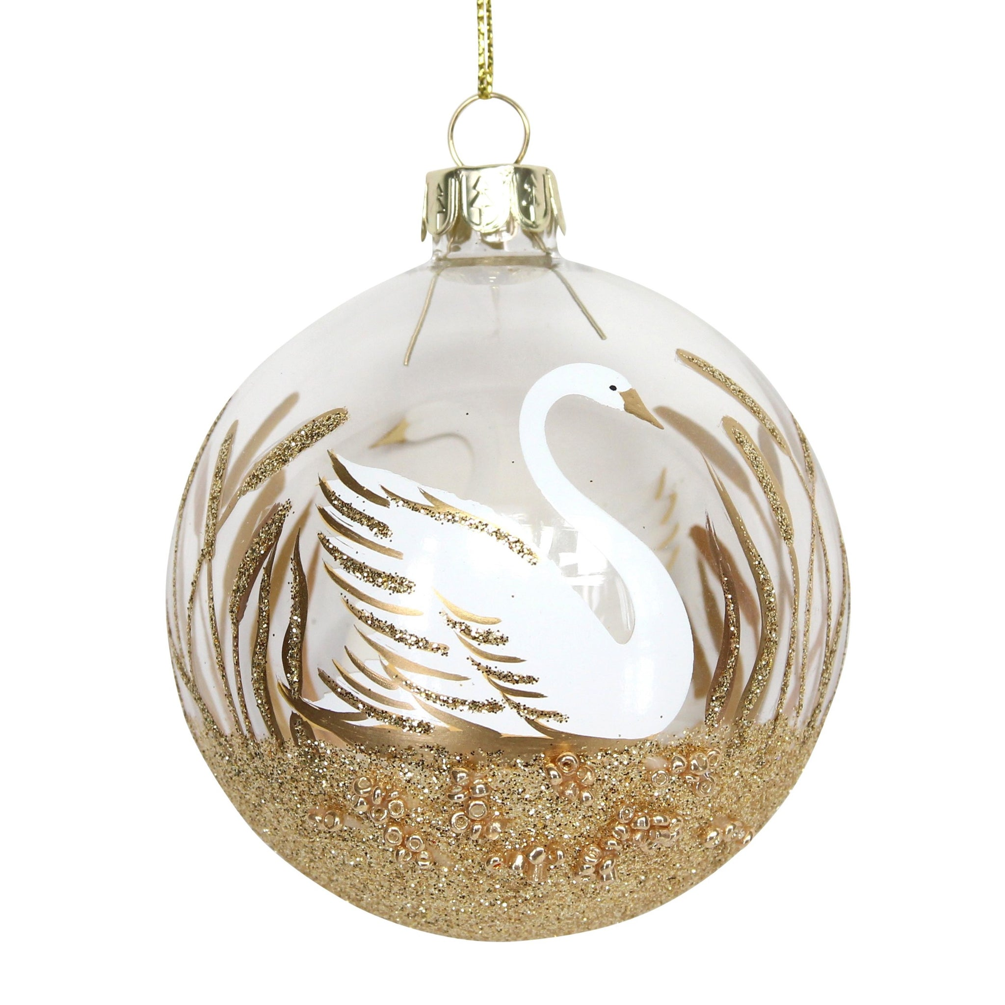 Gold Glitter Swan Bauble