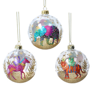 Glass Bauble - Set of 3 Fantasy Animals