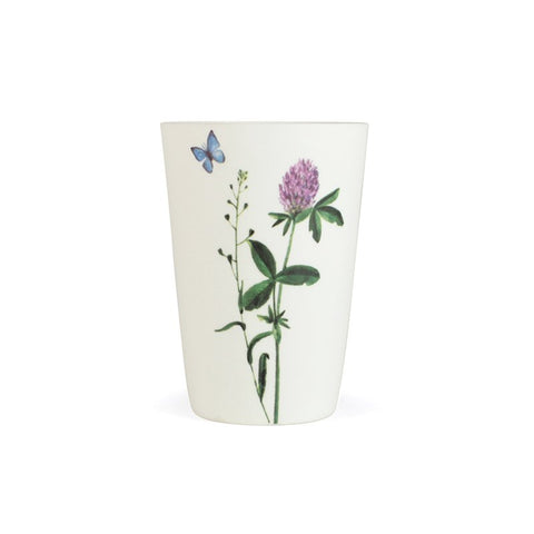 White Porcelain Votive - Wild Flowers