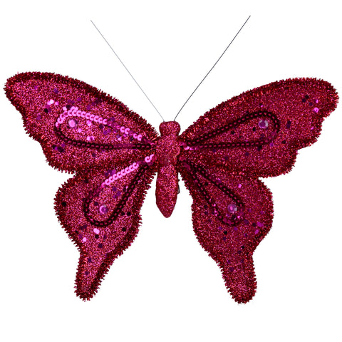 Fuchsia Pink Clip on Fabric Butterfly