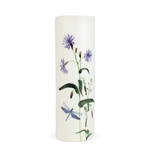 White Porcelain Vase - Wild Flowers & Dragonfly
