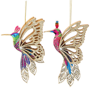 Pair of Fretwork Colourful Hummingbird Decorations