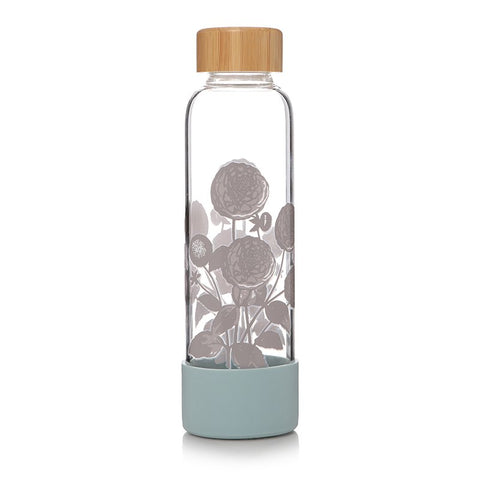 RHS Glass Water Bottle - Dahlias in Bloom