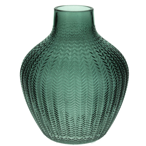 Green Ribbed Glass Vase