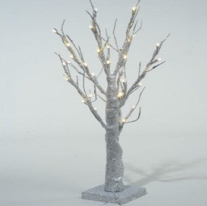50cm Silver LED Glitter Tree