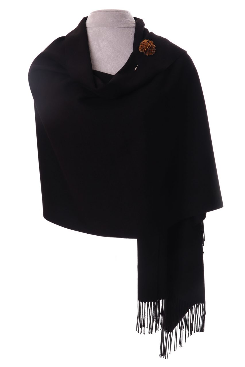 Cashmere Mix Pashmina Wrap / Scarf - Black