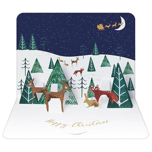 Pack of 5 Luxury 3D Christmas Cards - Woodland