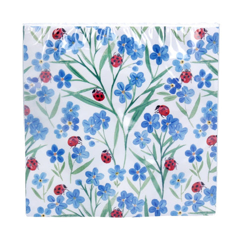 Gisela Graham Paper Napkins - Forget-Me-Not & Ladybird