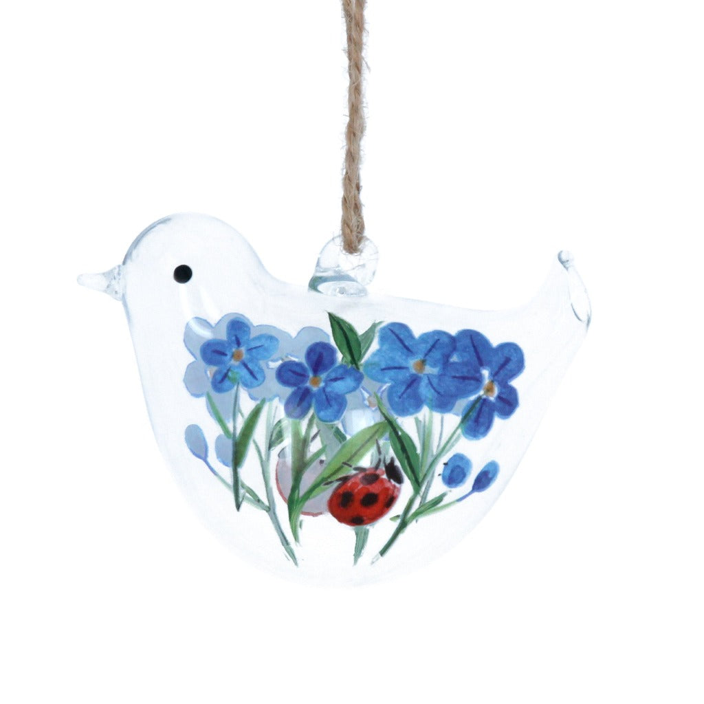 Hanging Glass Bird Decoration - Painted Forget-Me-Not & Ladybird Design