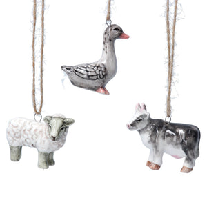 Set of Ceramic Hanging Farm Animal Decorations