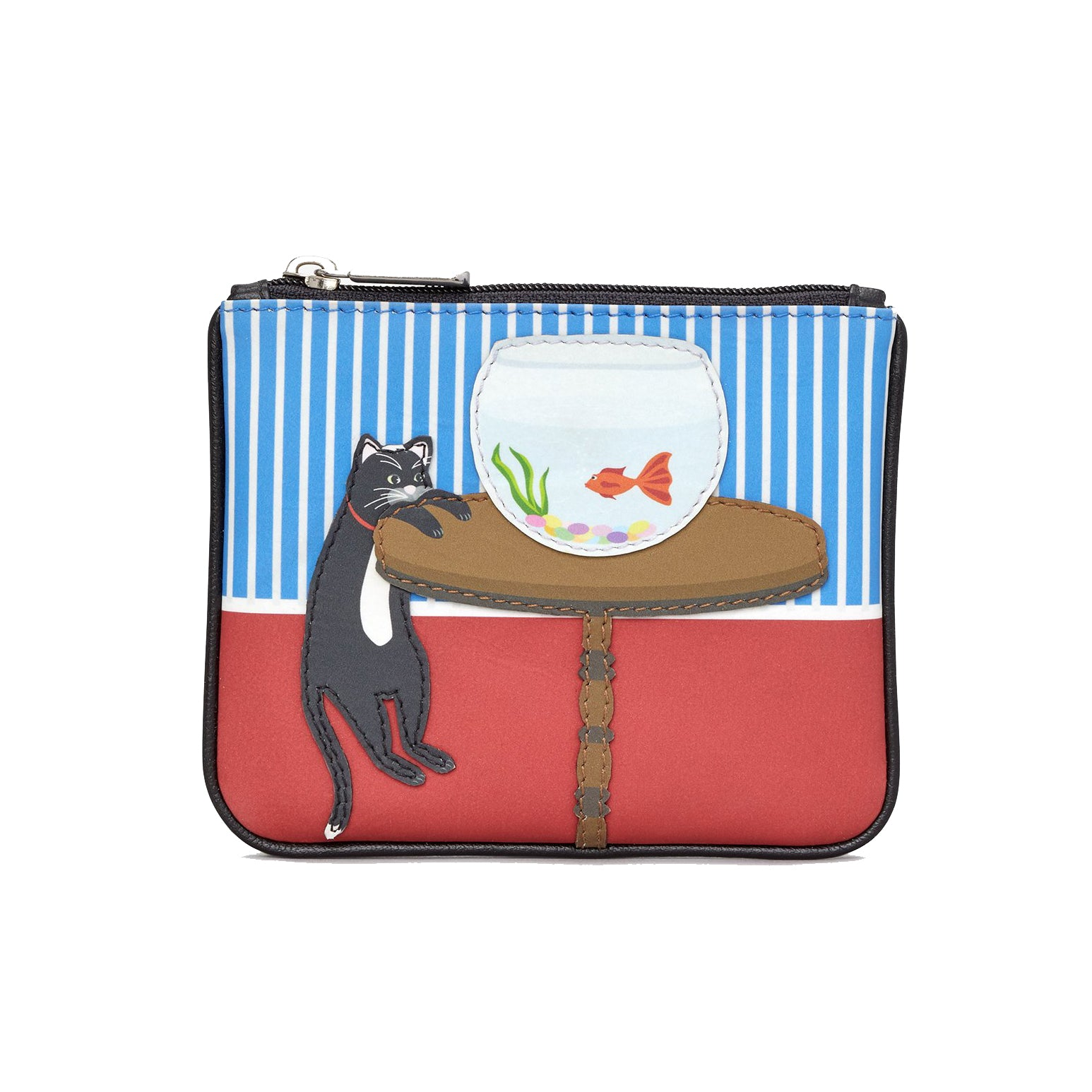 Zip Top Leather Coin Purse - Cat & Fish Bowl