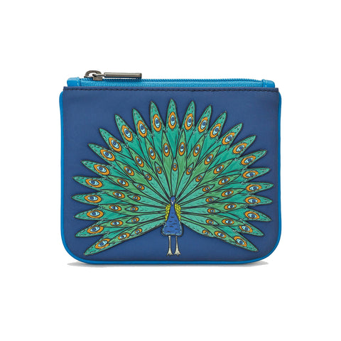 Zip Top Leather Coin Purse - Peacock