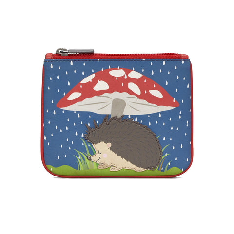 Zip Top Leather Coin Purse - Toadstool