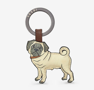 Leather Pug Keyring