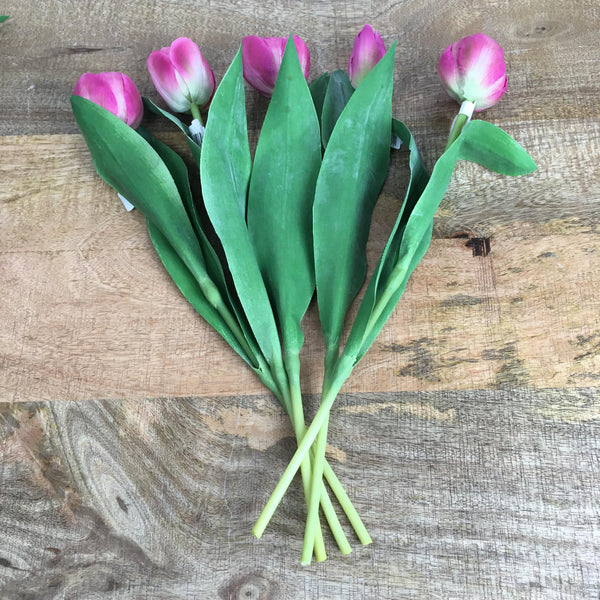 Bunch of 5 Artificial Tulips