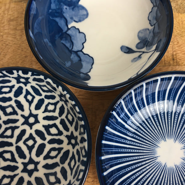 Set of 3 Blue and White Dipping Bowls