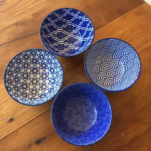 Set of 4 Blue and White Bowls Japanese Small