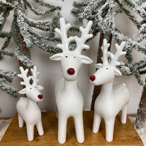 Ceramic White Reindeer Family