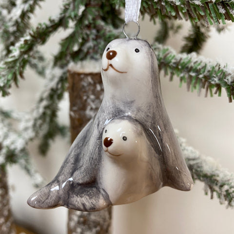 Hanging Decoration - Ceramic Seal & Pup