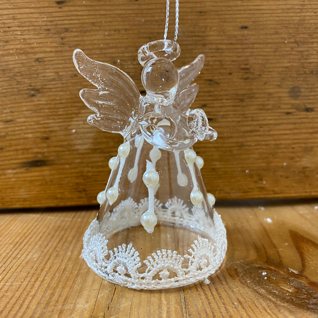 Set of Three Glass Angel Hanging Decorations
