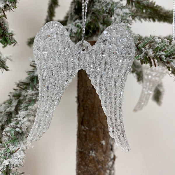 Set of Three Glass Angel Wings Tree Decorations
