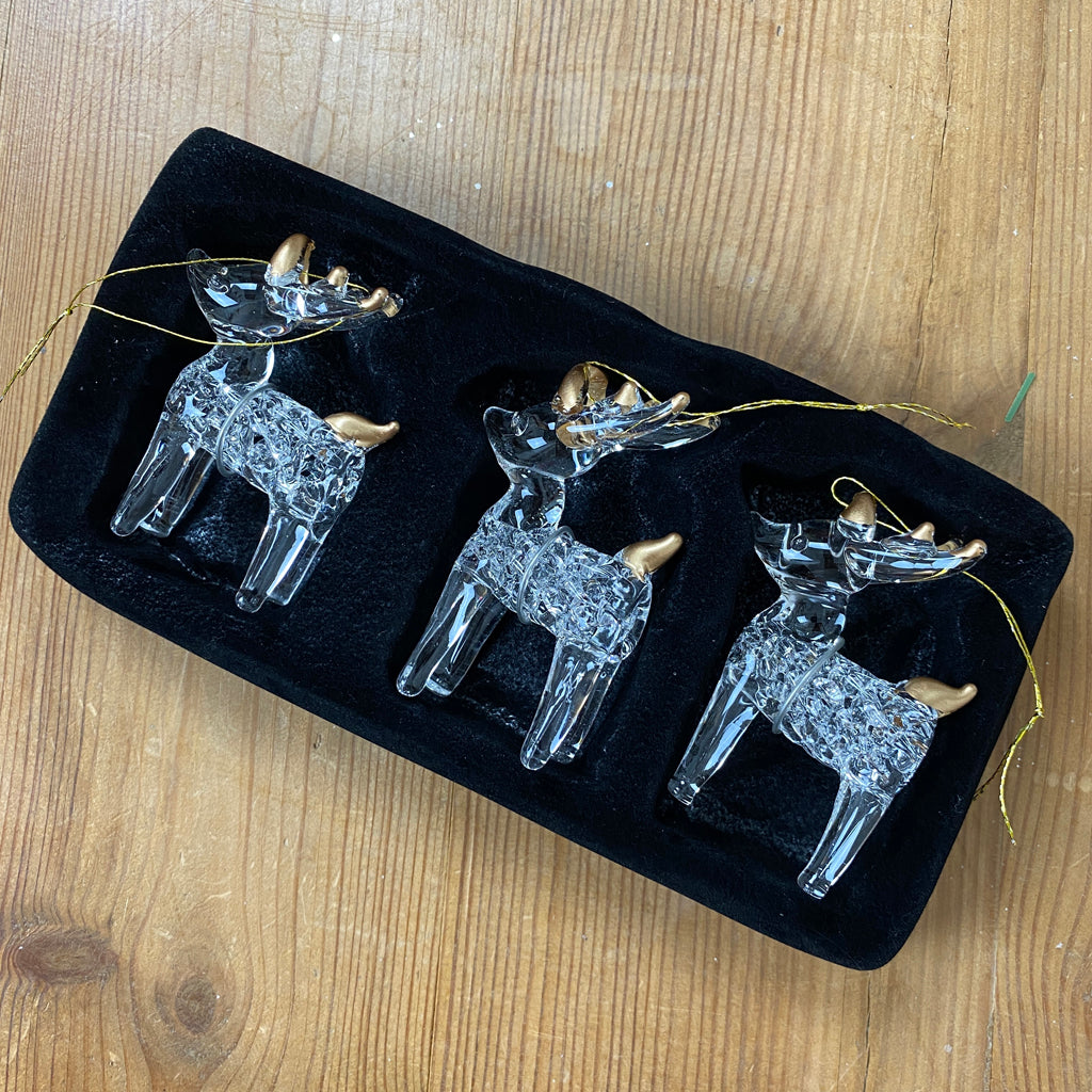 Set of Three Glass Reindeer Tree Decorations