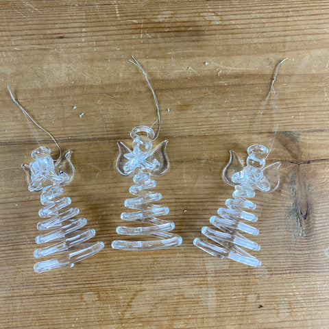 Set of 3 Spiral Glass Angels
