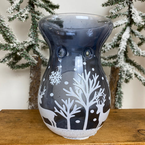 Glass Oil Burners - Blue with White Reindeer