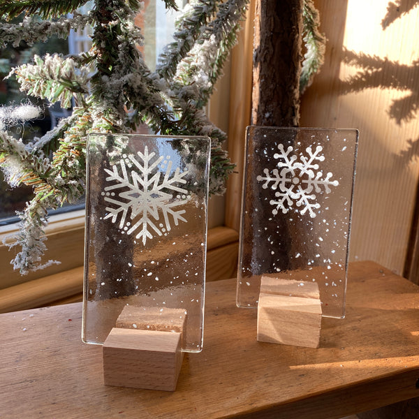 Handmade Fused Glass Trees - Snowflake 2