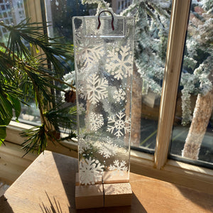 Handmade Fused Glass Window Hanger - Snowflake