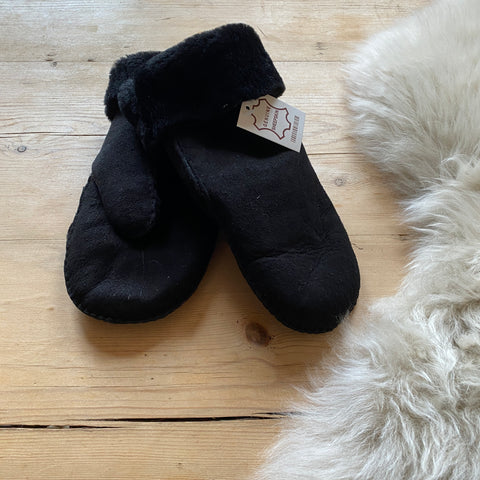 Sheepskin Ladies Mittens - Black