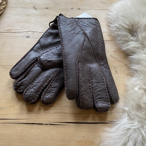 Mens Sheepskin Gloves - Chocolate