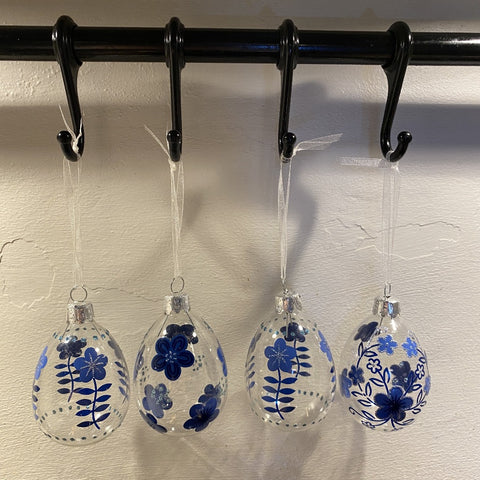 S/4 Hanging Glass Decorations - Blue Flowers