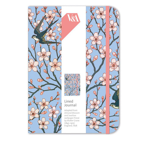 Lined Journal - Almond Blossom & Swallow