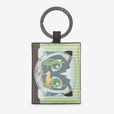 Leather Cat & Fishbowl Keyring