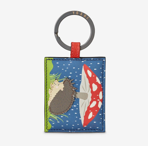 Leather Hedgehog & Toadstool Keyring