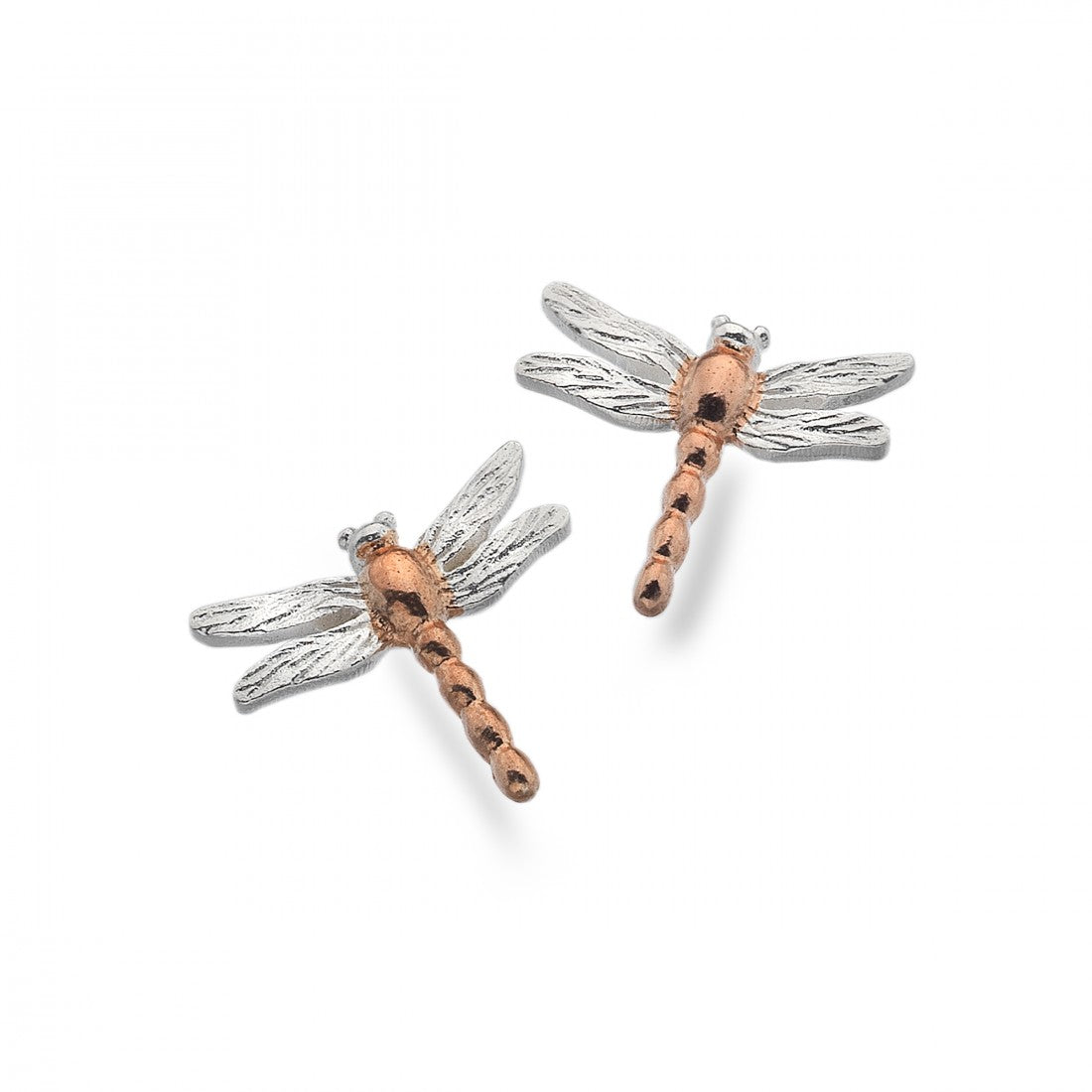 Silver and Rose Gold Dragonfly Studs