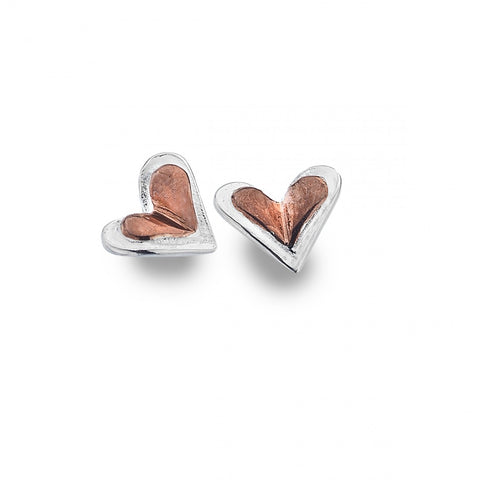 Silver Heart Studs with Rose Gold Plate Heart