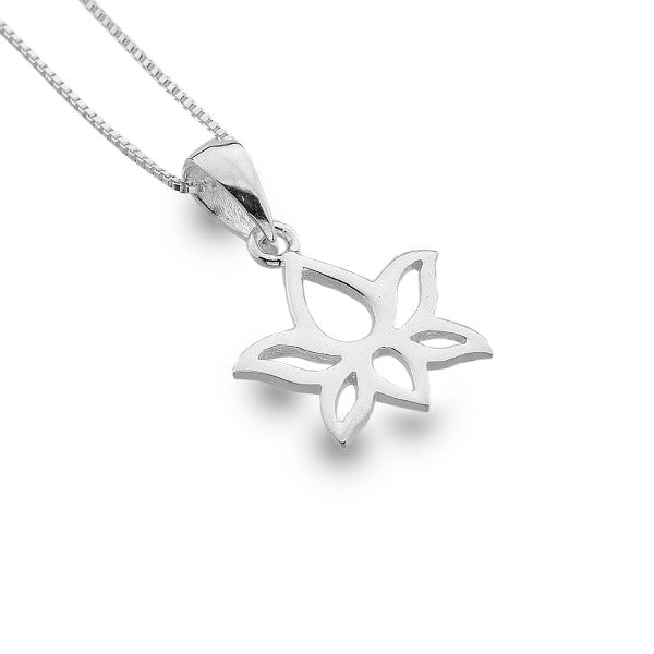 Simple Silver Lotus Flower Necklace