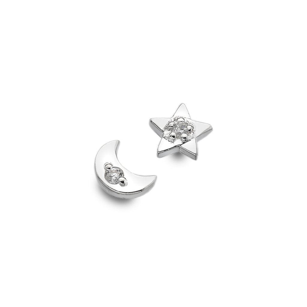 Sparkling Moon and Star Silver Studs