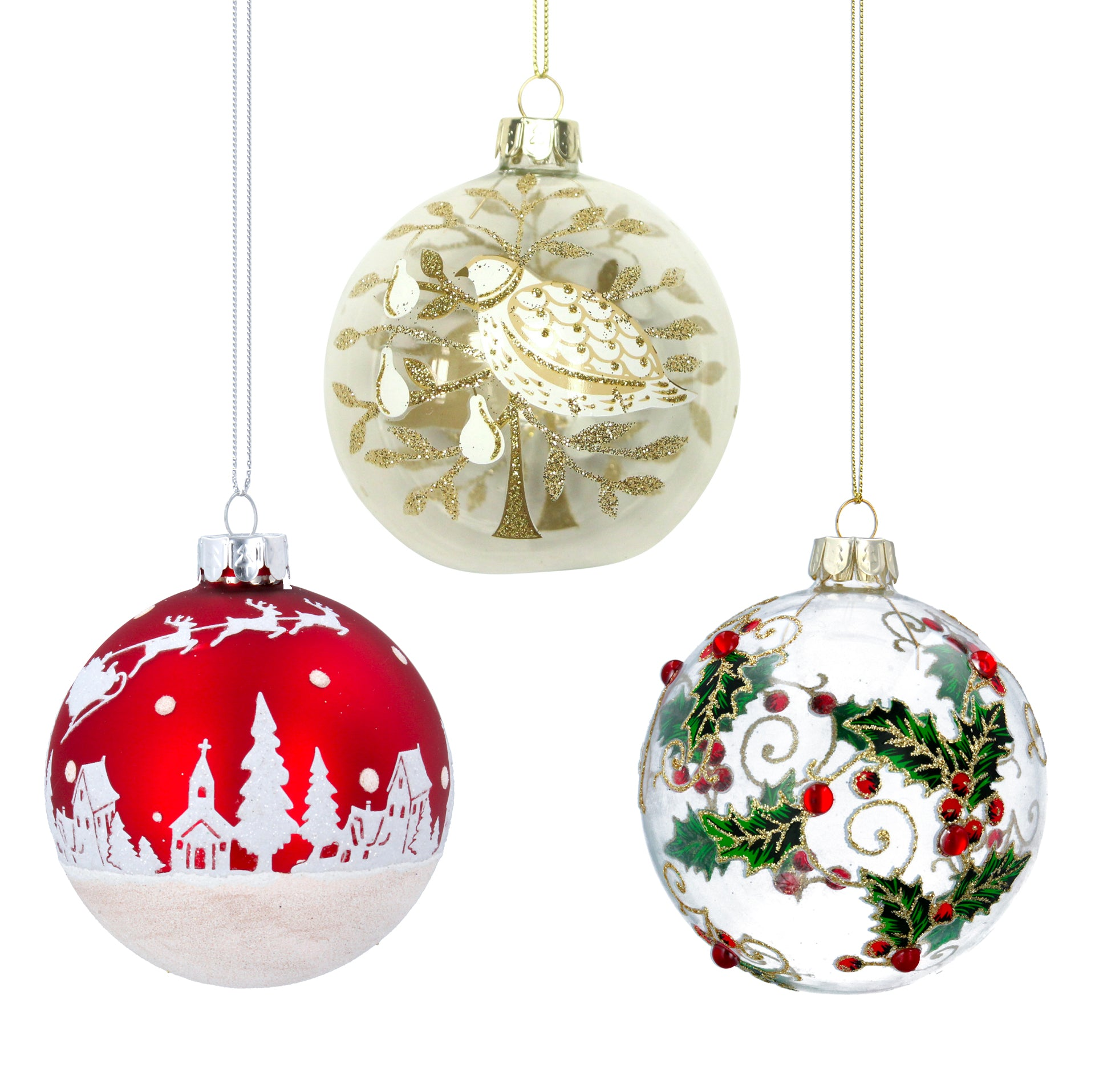 Glass Bauble - Set of 3 Traditional Christmas