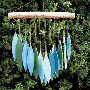 Glass Wind Chime 'Falling Leaves' - Turquoise